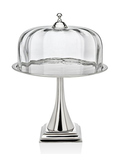 Godinger Silver Art Contemporary Nickel-plated Glass Cake Stand Pedestal Plate With Round (Godinger Silver Plated Plates)