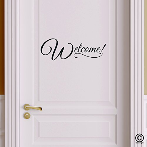 Welcome Door Decor - Wall Decal Vinyl Sticker W18 6'x2' (Message for Color) by iDecalworks