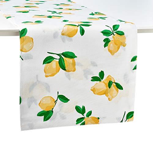 Kate Spade New York Make Lemonade Cotton Table Runner, Runner-15x90 (Table Runner Designer)