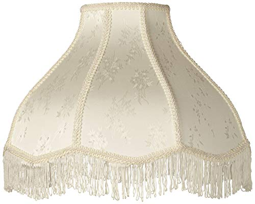 Creme Scallop Lamp Shade Fringe Harp Included 6x17x12x11 (Spider) - Brentwood ()