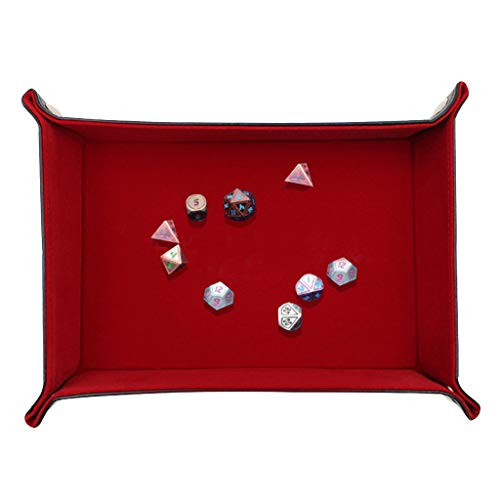 Flurries  Square Foldable Dice Tray - Portable Folding Dice Rolling Tray - Dice Holder Box - Dice Game Stronger - Leather Storage Tray - Office Home Desktop Jewelry Keys Pencil Organizer (Red)