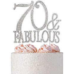 70 and Fabulous Rhinestone Cake Topper | Premium Bling Crystal Diamond Gems | 70th Birthday Party Decoration Ideas | Quality Metal Alloy | Perfect Keepsake (70&Fab Silver)