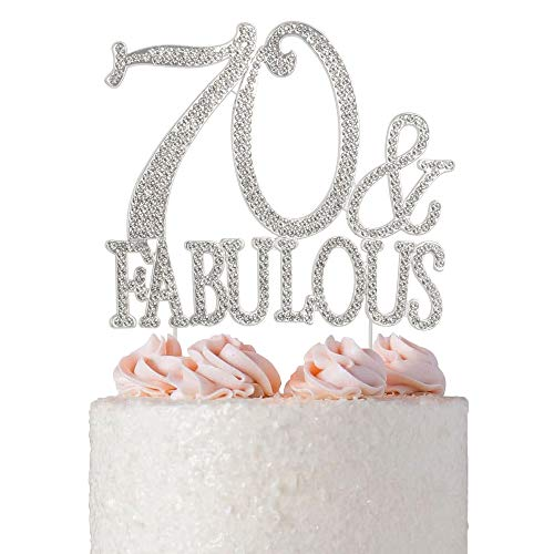 70 and Fabulous Rhinestone Cake Topper | Premium Bling Crystal Diamond Gems | 70th Birthday Party Decoration Ideas | Quality Metal Alloy | Perfect Keepsake (70&Fab Silver) -