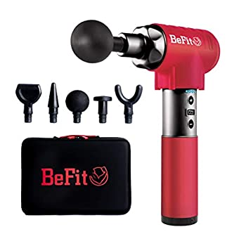 Image of BeFit Quiet Cordless Massage Gun for Deep Tissue Relaxation   Therapeutic Attachments for Athlete Back, Neck and Muscle Pain Recovery, Portable Red Percussion Therapy Tool Includes 5 Jigsaw Tips/Bits Health and Household