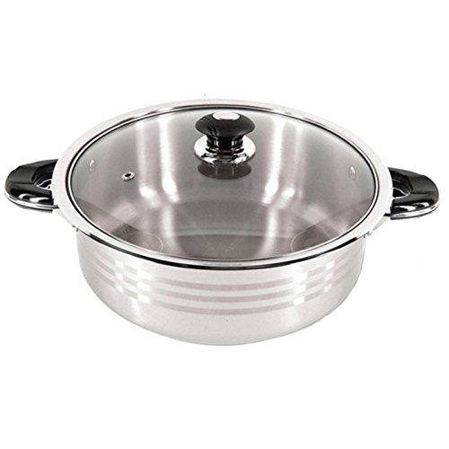 Super X 10-Quart Heavy-Gauge Stainless Steel Shallow Pot with Glass Lid