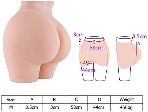 Sexy Panty Pad Silicone Shapewear Bum Butt Hip up Enhancer Underwear for Women Transgender Crossdressing Cosplay,Ivory White,M