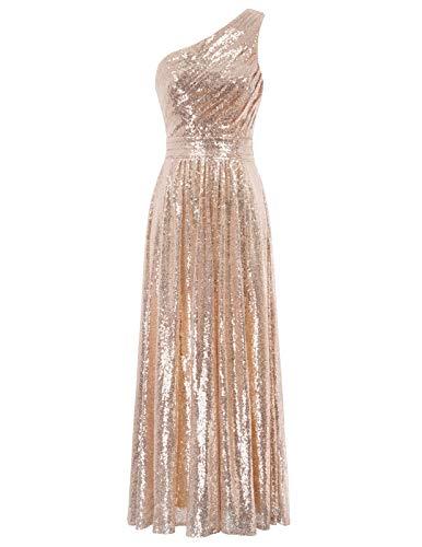 Women 's One Shoulder Sequin Maxi Long Evening Prom Dress,Rose Gold/US2