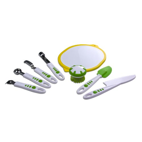 Real Kitchen Tools and Cookbook for Kids - Curious Chef 8-Piece Fruit and Vegetable Set