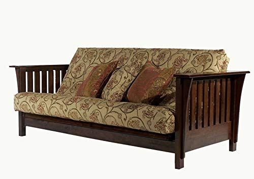 Strata Furniture Mission Rim Dark Cherry Full Wall Hugger Futon Frame by Strata Furniture