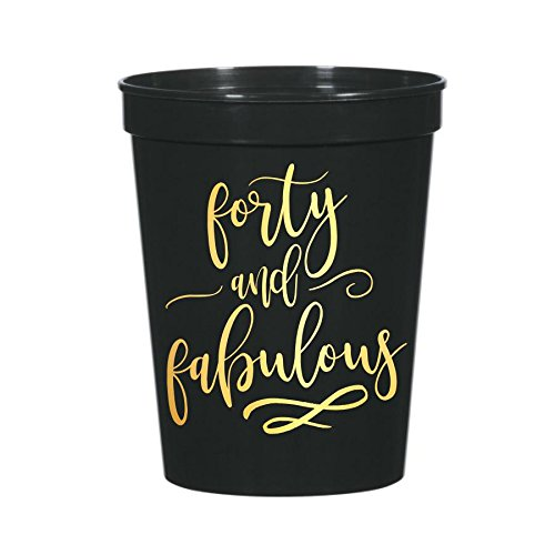 Forty and Fabulous Cups, 40th Birthday Party Cups, Plastic Birthday Party Cups for Her, 40th Birthday Cups, Funny 40th Party Decor, 40 and Fabulous