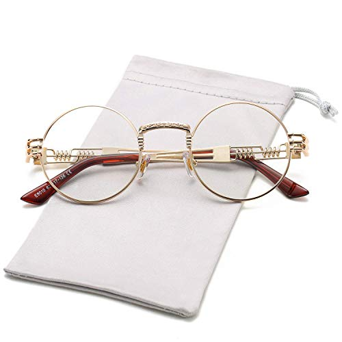 HUA JU Vintage John Lennon Style Metal Spring Frame Round Steampunk glasses with Clear Lens (Gold Frame/Clear Lens, ()