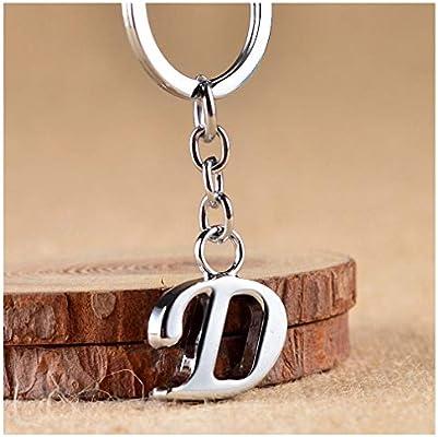 Amazon.com: Llavero de metal plateado con letras de la A a ...