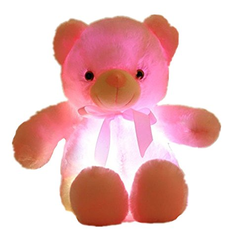 Creative Light Up LED Inductive Teddy Bear Stuffed Animals Plush Toy Colorful Glowing Teddy Bear, 20- Inch(Pink)