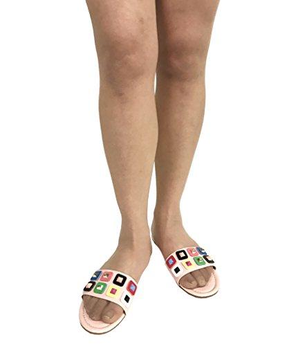 Emily 66! Womens Glanzende Kleurrijke Bezaaid Dia Sandalen Roze Lakleer