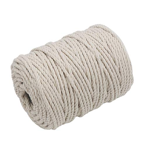 Tenn Well Macrame Cord 4mm, 165 Feet 3Ply Twisted Cotton Macrame Rope for Making Wall Hangings, Plant Hangers, Craft Projects and Decorations (Beige)