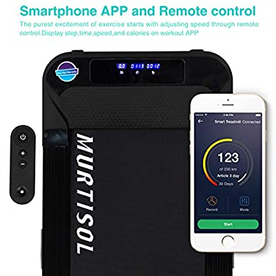 Murtisol Under Desk Treadmill Electric Smart Running Machine with Remote Control and Bluetooth App and Extension Running Belt,Good for Home & Office
