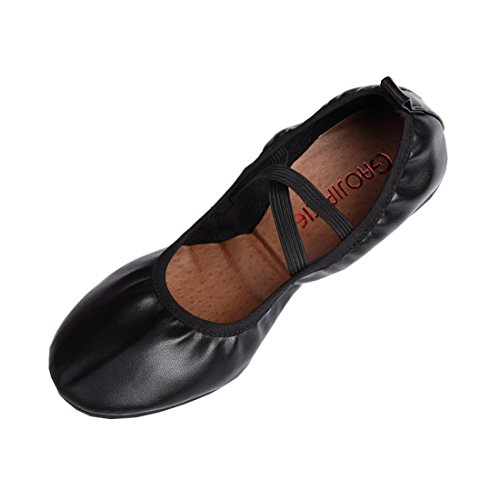 DorkasDE Damen Gymnastikschuhe Mädchen Tanzschuhe Kunstturnschuhe Ballett Schuhe Oxford Sohle Leder Obermaterial Schwarz