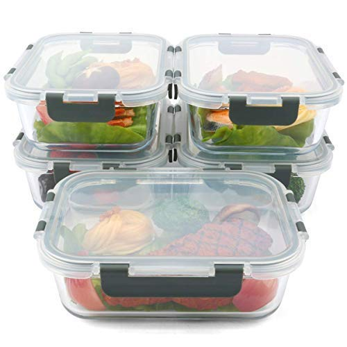[5-Packs, 36 Oz.] Glass Meal Prep Containers with Lifetime Lasting Snap Locking Lids Glass Food Containers,Airtight Lunch Container,Microwave, Oven, Freezer and Dishwasher Safe(4.5 Cup) by Mcirco (Image #5)