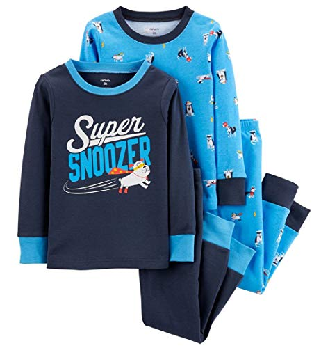 Carter's Boy's 4-Piece Snug Fit Cotton PJ Set (Super Blue, 4T)
