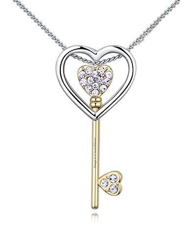Young & Forever Women's Edition Rhodium Plated Alloy Gold Key to My Heart Preciosa Necklace -