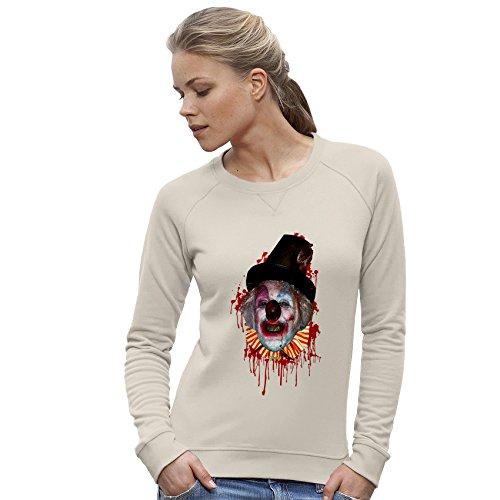 Twisted Envy Women's Halloween Satanic Clown Organic Cotton Vintage White Sweatshirt X-Large