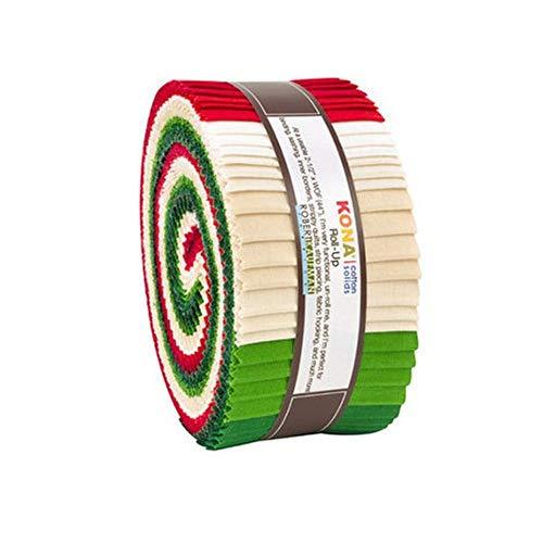 Robert Kaufman Kona Cotton Solids Holiday Roll Up 2.5