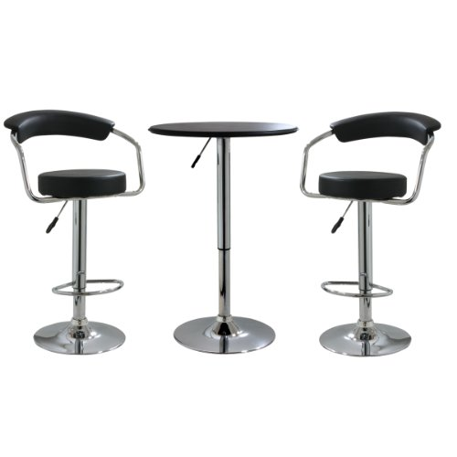 3 Piece Set Game Table (AmeriHome BSSET3 Black Vinyl Adjustable Bar Stool Set, 3 Piece)