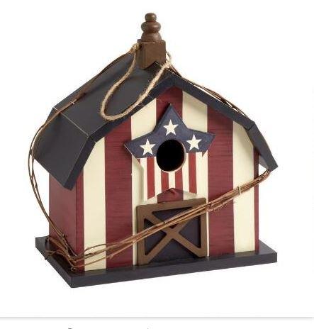 "12"" Patriotic American Wood Barn Birdhouse"