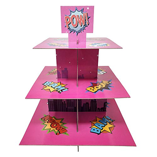 Superhero Girl Cupcake Stand & Pick Kit, Superhero Girl Party Supplies, Superhero Girl Decorations, Birthdays, Cake Decorations, Kids Birthdays, 3 Tier Cardboard