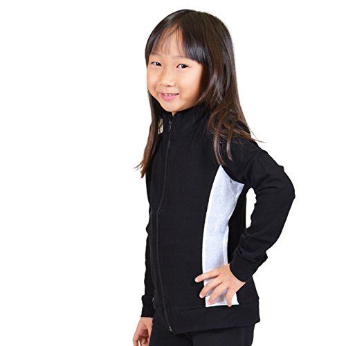 Stretch is Comfort Girl's Cadet Warm Up Team Gymnastics Silver Slit Dance Jacket Black X ()