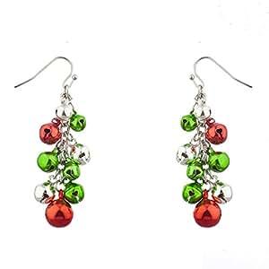 Lux Accessories Multicolor Silvertone Christmas Jingle Bells Dangle Earrings
