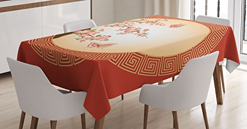 (Ambesonne House Decor Tablecloth, Oriental Cherry Blossom with Butterflies in Circle Frame Ornamental Illustration, Rectangular Table Cover for Dining Room Kitchen, 60x84 Inches, Pink Red Brown)