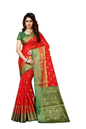 Sarees Women's Jasmin Banarasi Art Silk Woven Work Saree l Indian Wedding Ethnic Sari & Blouse Piece (Red - Sari Saree Silk