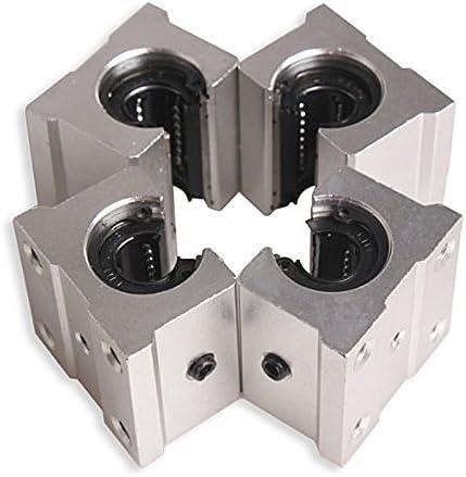 Andifany 4 x SBR12UU bloc de roulement de routeur de mouvement lineaire en aluminium de 12mm argent