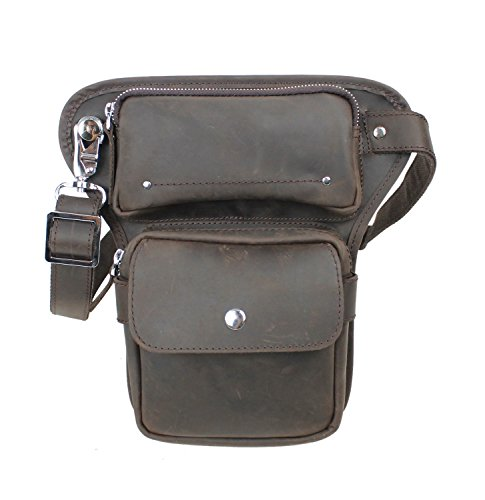 Vagabond Traveler Full Grain Leather Waist Leg Sport Bag LW10 by Vagabond Traveler