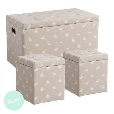 Set von 3 Sitzkissen - puf -puff -pouf Beige Krone Beige -pouf - G:76x40x45 10c3e3