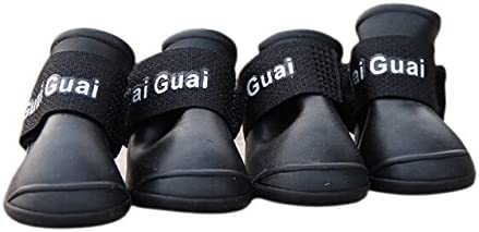 TOOGOO(R) Botas de lluvia para perros Zapatos de goma de proteccion impermeable, M, NEGRO