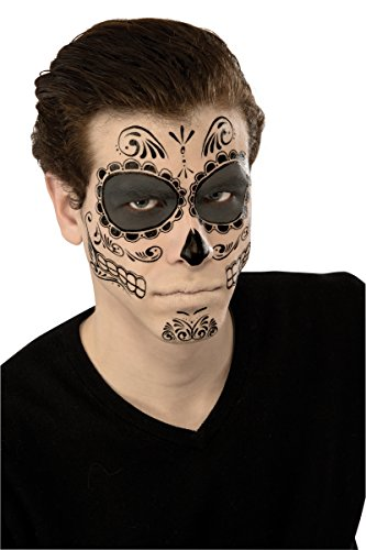 Rubie's Men's Skeleton Day of The Dead Face Tattoo, Multi, One Size