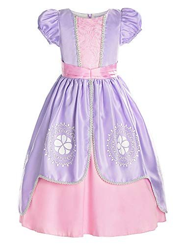ReliBeauty Girls Short Sleeve Sofia Costume Princess Dress, Lilac, 6/140