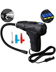 Digital Tyre Inflator, Autmor Air Compressor Tyre Pump with 12V 120 PSI LCD Screen LED Light and 4 Nozzles for Car, Bike, Basketball and Other Inflatables