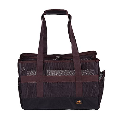 Greenery Travel Pet Carrier Tote Handbag Summer Cool Breathable Mesh Bed Hammock Soft Sided Carrier Portable Shoulder Bag Sling Pack for Small Medium Pet Dog Cat Rabbit Animals-Brown L by Greeney