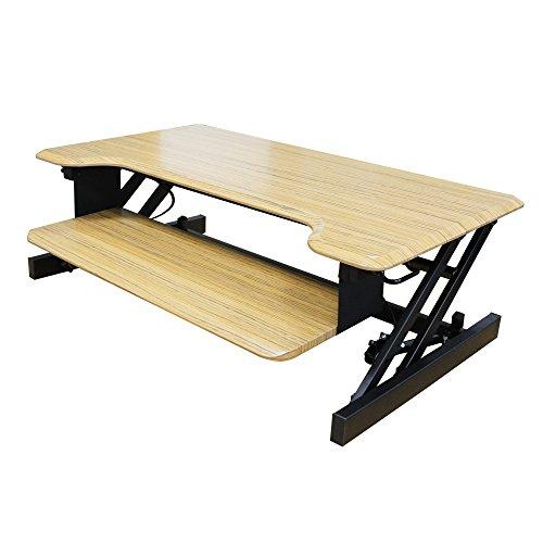 Dland Standing Desk 37' Adjustable Folding Hand-Levers Lift Table Monitor Stander Converting Office Desk Workstation for Computers Laptops PC, Teak