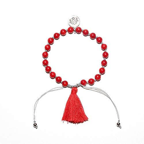ALWAYS ME Serpentine Stone Tassel Bracelet Lotus Charm Natural Stone Mala Bracelet Mindfulness Bracelet,red - Bracelets Serpentine Red Gold