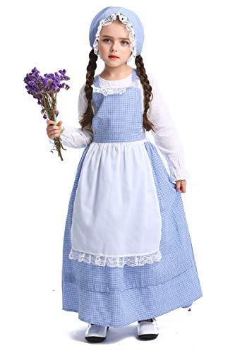 H&ZY Girls Pioneer Costume Colonial Prairie Dress Halloween