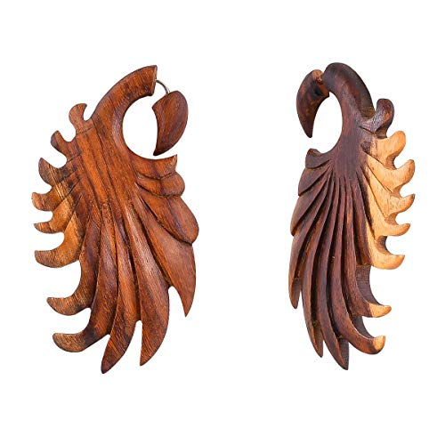 (Crafted studio Women's Tibetan Antique Wooden Carved African Tribal Big Fake Gauge Earrings 3.15