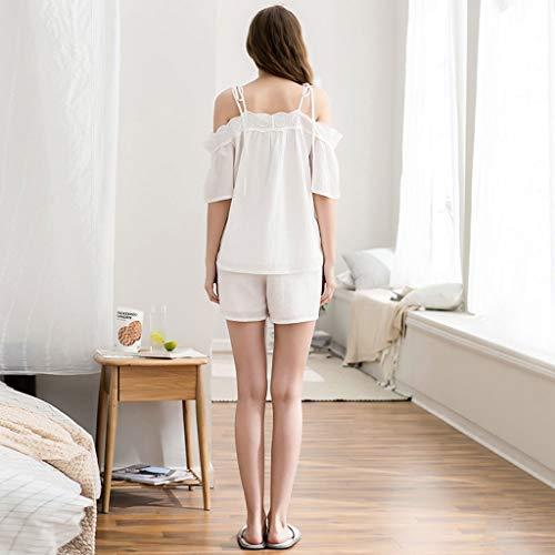 tracolla Pigiama tessuto Colore Maniche cotone femminile con dimensioni HUXIUPING una Bianca sexy estivo XL Bianca in ffRrnq8S