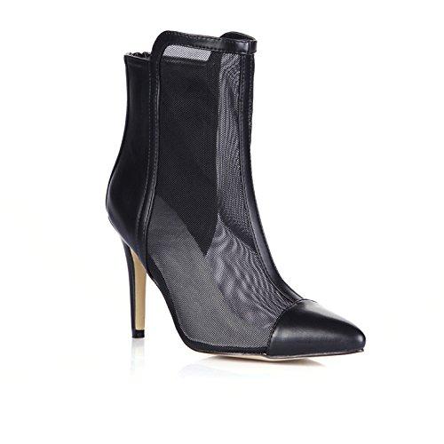 Femme Démarrage Point Noir Boîtes Chaussures Bottes Nouveau Tsai Talon Chers Courte Haut De Black Et 0xw1fqg