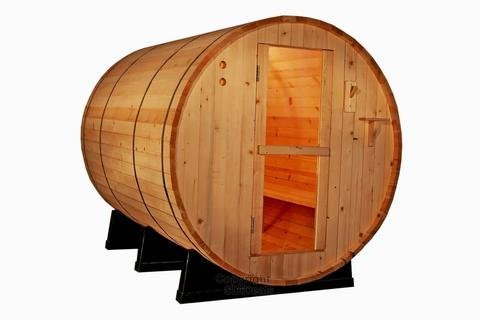 Cedarwood Sauna - Canadian Red Cedar Wood 6' Foot Outdoor Barrel Sauna, 4 Person, with 6KW Wet or Dry Heater and Lava Rocks