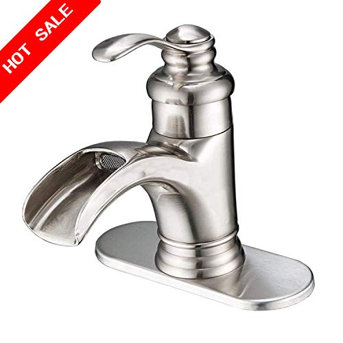 Suguword Waterfall Sink Faucet Brushed Nickel Single Handle Hole Lever Commercial Bathroom