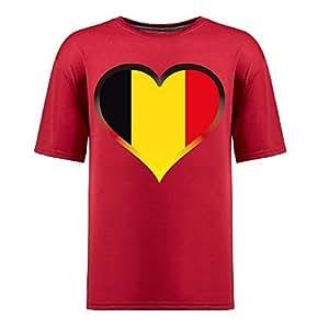 MEIMEIBrasil 2015 FIFA World Cup Mens Football Background Short Sleeve Cotton T-shirt for Fans redMEIMEI